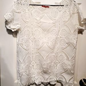 White lace chealsea and violet blouse
